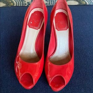 Red Christian Dior Peeptoe Pumps Patent Leather
